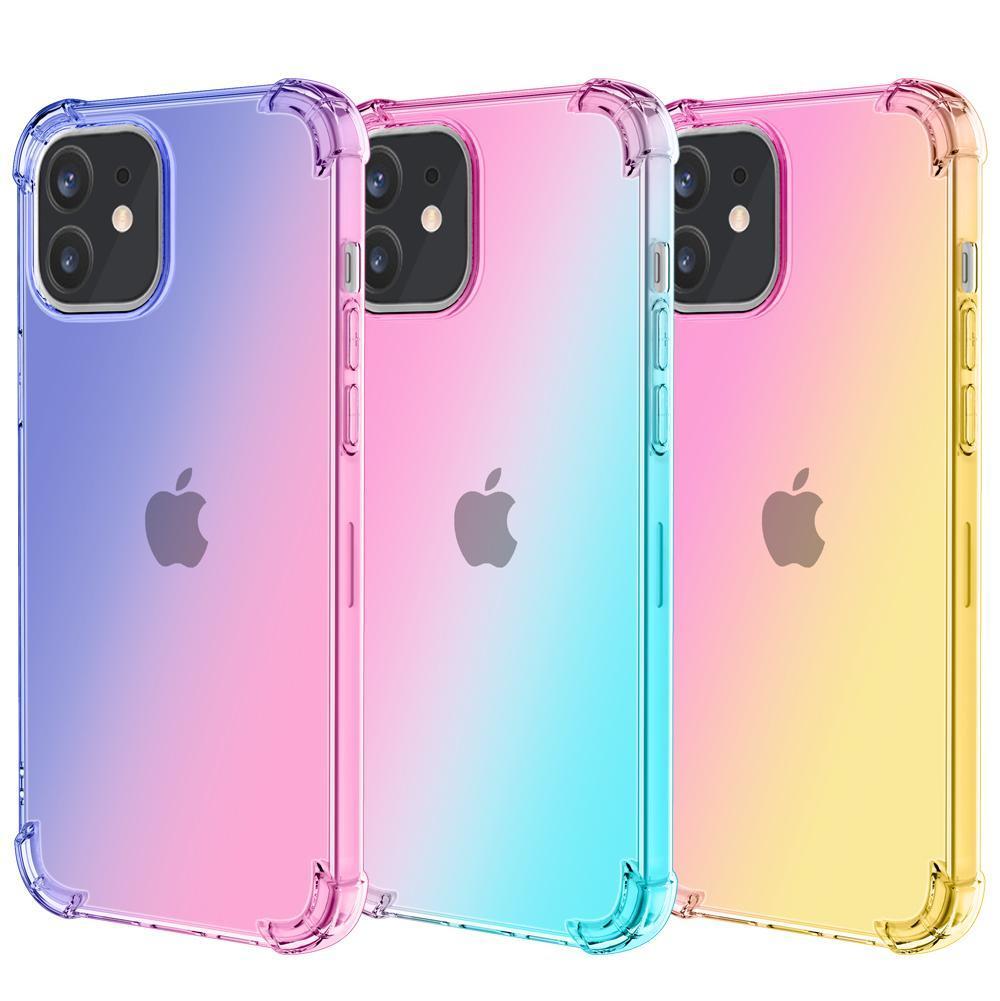 Wholease caja del teléfono del gradiente de doble color transparente a prueba de golpes de TPU para el iPhone 12 Mini 11 Pro Max XR XS MAX Plus X 8 7 6 6s S20 Ultra Note20