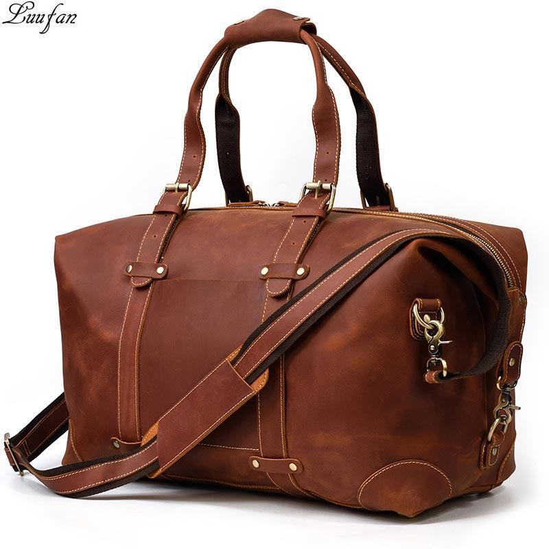 Bagagem Saco Luufan couro genuíno Travel Bag Crazy Horse Vintage dos homens de couro comercial masculino bolsa de viagem Duffel Big Capacidade