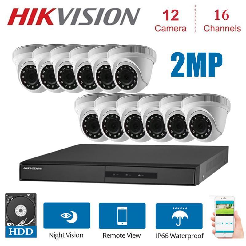 16 canaux Hikvision Kits de surveillance avec 12 * 1080P 4 dans la vision caméra de sécurité 1HD nuit CCTV sécurité système Kit