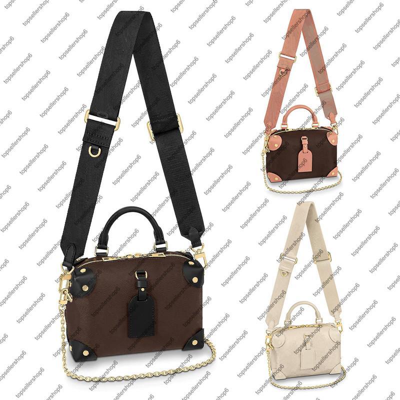 M45571 M45393 Mini Dessinger Handtasche Kalbsleder Frauen Handtasche Geprägte Leinwand Niet Ecke Crossbody Abendtasche Geldbörse
