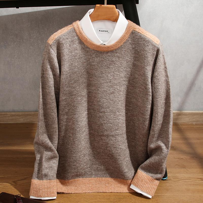 2021 new cashmere cotton blend pullover men's sweater sweatshirt round neck wool sweater knitted O-neck business casual