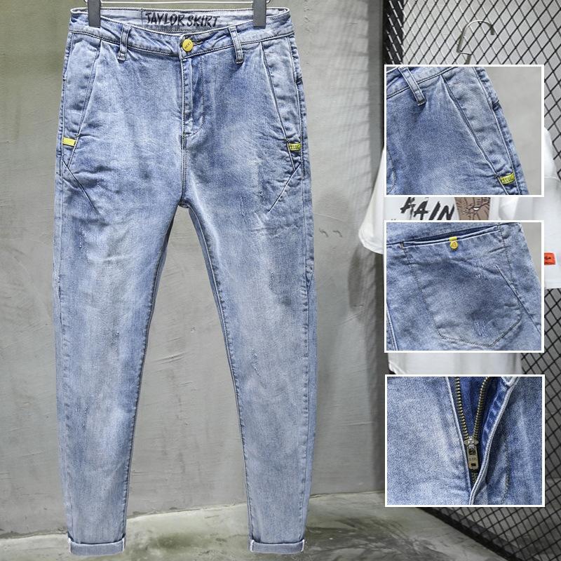 Primavera micro calças largas e jeans cônico pés pequenos finas calças de cor clara calças dos homens simples e versátil nove calças jeans pontos com inclinação