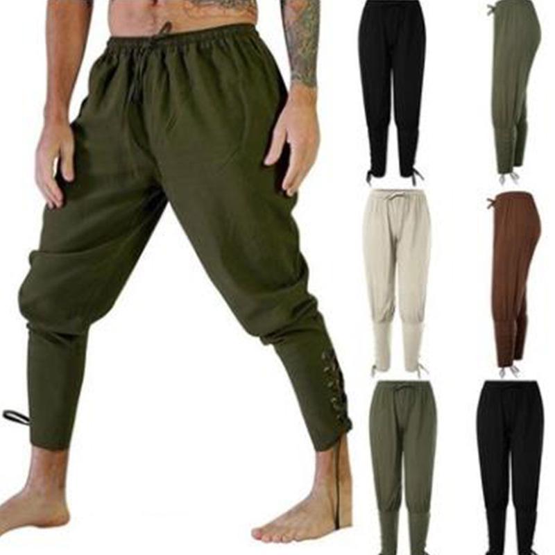 Yetişkin Adam Ortaçağ Viking Korsan Cosplay Kostüm Dantel-up Bandaj Pantolon Larp Capris Pantolon Erkekler için Vintage Dokuma Pamuk Joggers 201112