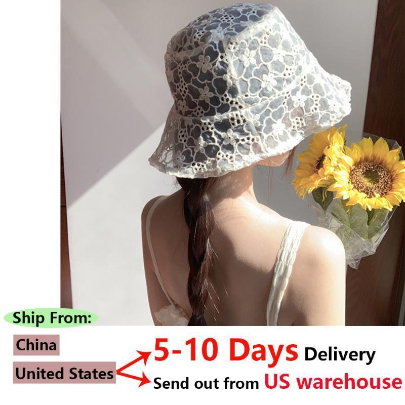 Sombrero 2020 de encaje Nueva Corea Mujeres hueco de encaje suave a cabo Flor de ala ancha sombreros de Sun Sombrero flojo del vestido del verano de las señoras del cucharón