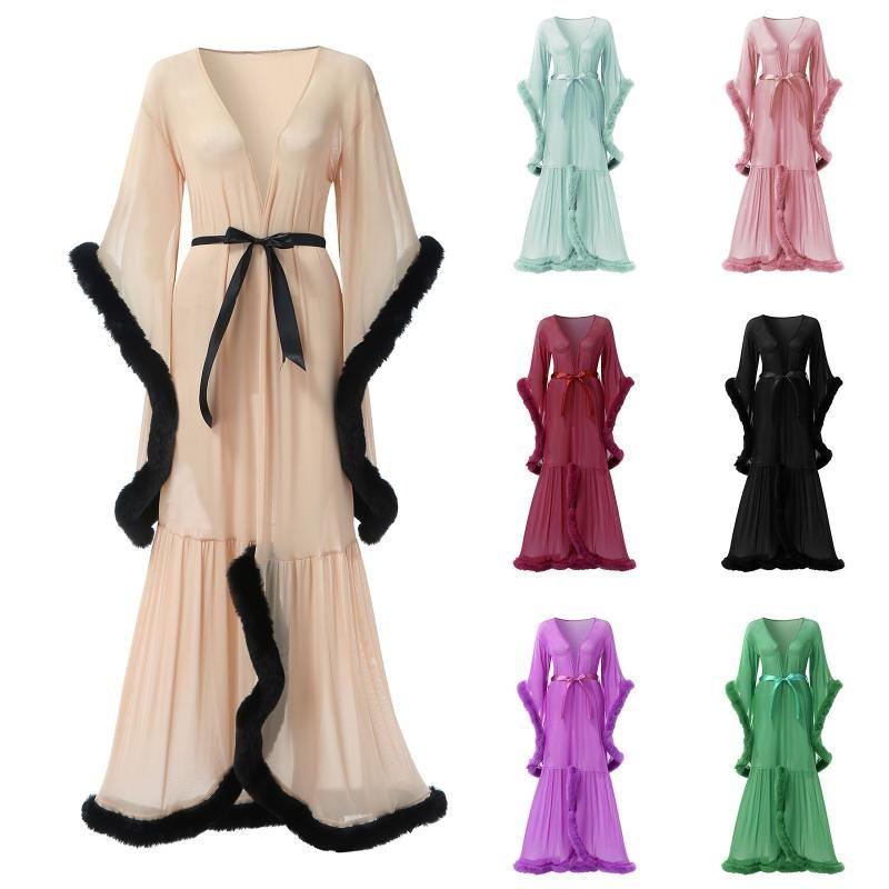 Mulheres Sleepwear Mulheres Sexy Lingerie See-throut Plush Trim Lace-up Lace-up Manga Flared Cauda Vestido Confortável Moda Exótica Conjuntos