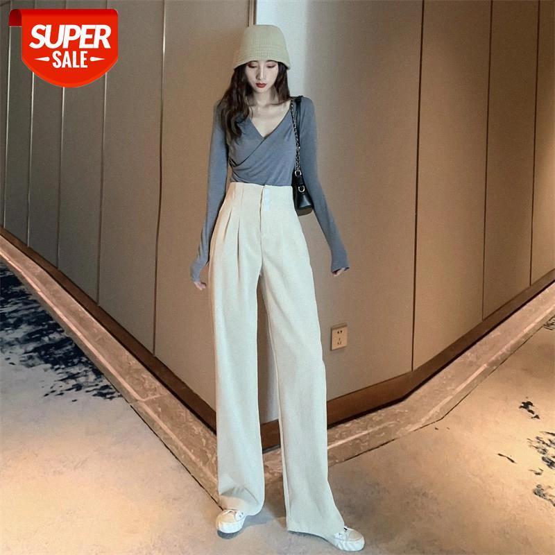 Kadınlar Vintage Geniş Bacak Haren Pantolon Kadife Katı Renk Bahar Rahat Moda Yüksek Bel Offcie Lady Pantolon # A573