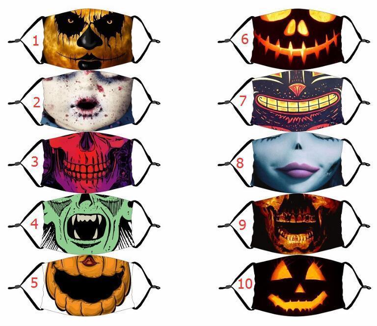Máscara de Halloween caliente reutilizable 3D máscara pintura mueca de calabaza algodón de la cara reutilizable carbono protectora lavable filtros de las máscaras para adultos Niños de la cara