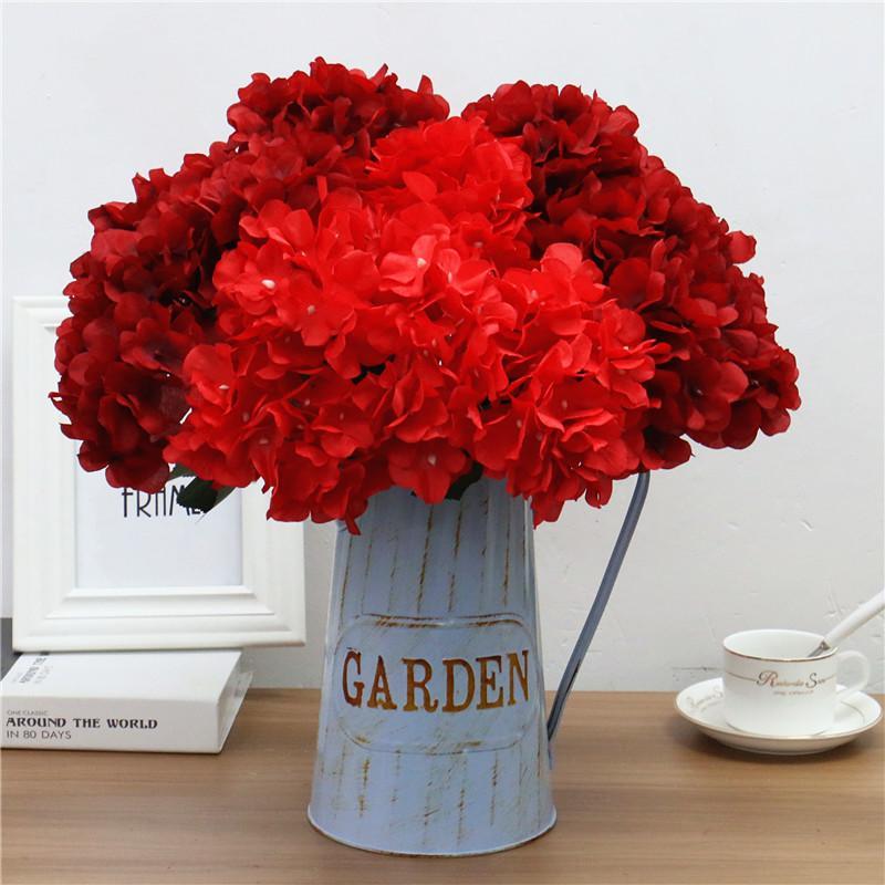 Large 6 heads artificial flower bunch silk hydrangea wedding bridal bouquet fake flower home decor flower wall Christmas gift