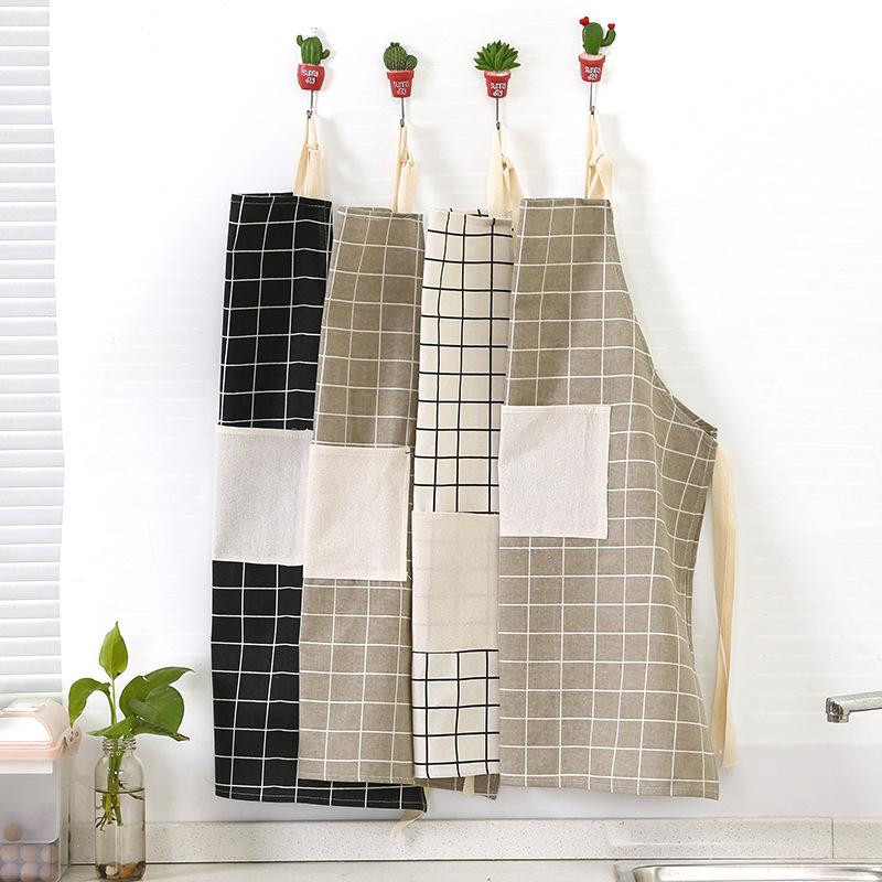 Women Home Cooking Cleaning Aprons Plaid Print Halter Tether Bandage Sleeveless Cafe Shop BBQ Baking Apron Kitchen Accessories