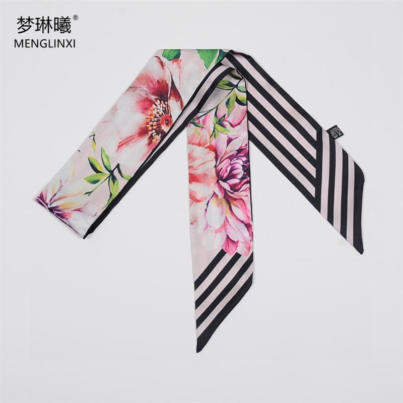 Sciarpa di fiori Twill Twill Sciarpa Sciarpa Sacchetto Skinny Sciarpe Design Asciugamano da polso Foulard Fascia per scollardici per signore