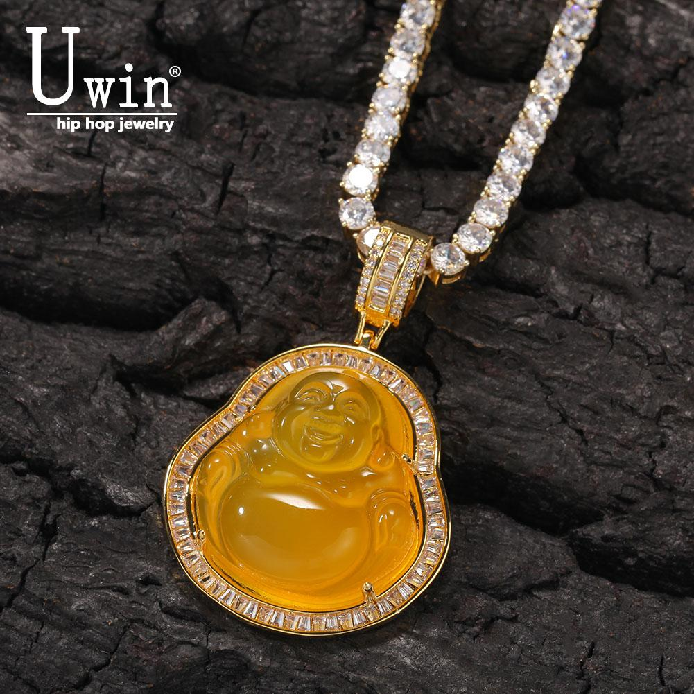 UWIN Blue Buddha pendant com Baguette AAA Cubic Zircon Hiphop Colar Tennis Cadeia Hip Hop Jewelry Punk 200928