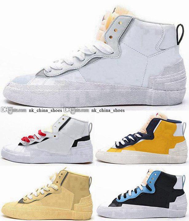Sacai zapatos blazer mediados EUR 11 5 zapatillas de deporte hombres entrenadores 35 mujeres Chaussures Casual para hombre Skate Tamaño US 45 con caja TENIS High Top Sports Girls
