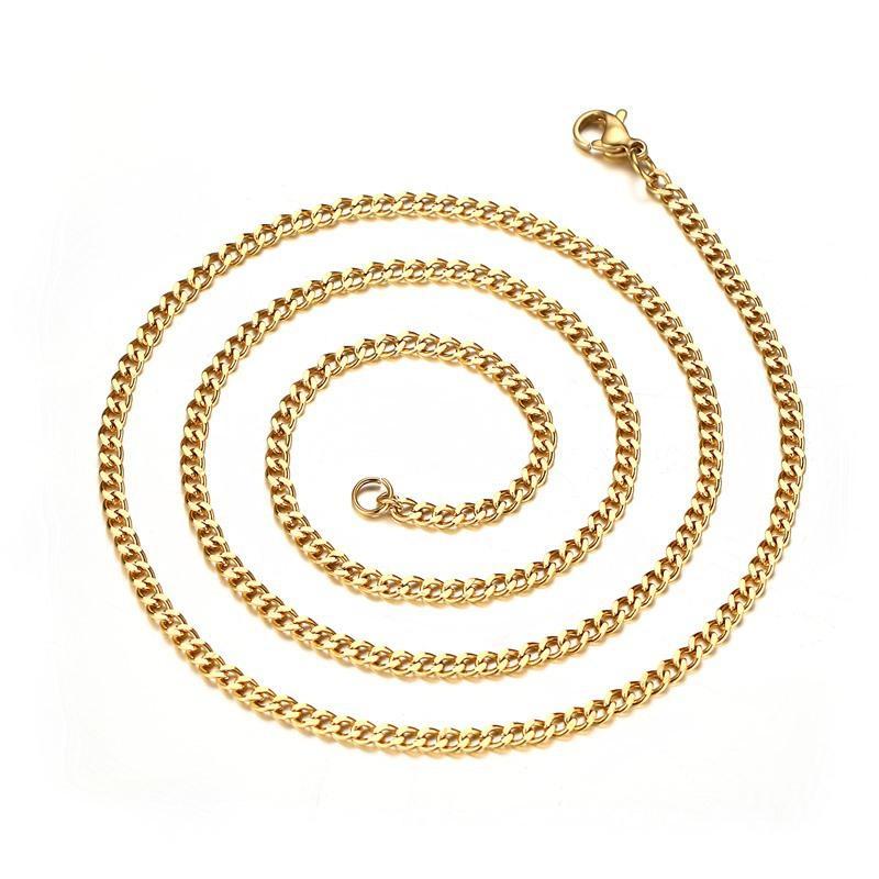 acero inoxidable joya de la manera collar de hombres collares mujeres collar 18k Cadenas de oro de titanio Collar de cadenas de lujo del hombre Collares 04