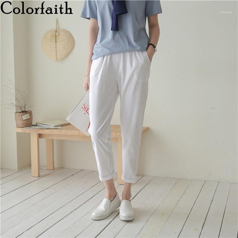 Женские брюки Capris Colorfaithith 2021 летние женщины 6 цветов Высокие талии карманы повседневные хлопковые и льняные лодыжки гарем брюки P80931