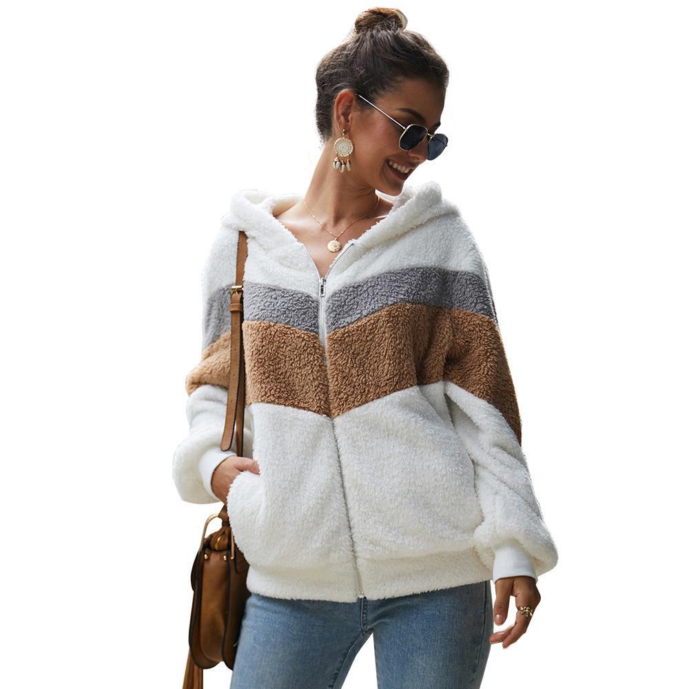 Cremallera de la manga de peluche acogedor piel de imitación de los Hoodies de las mujeres rayadas larga con capucha casual caliente grueso otoño ropa polerón Mujer
