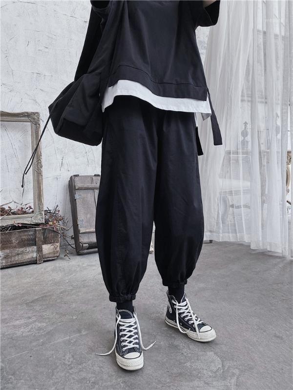 2020SS Japón Estilo Mujeres y Hombres Harem Pantalones Tobillo Longitud Sólido Streetwear Streetwear Dark Pantalones Hip Hop Female Bloomers Pants1