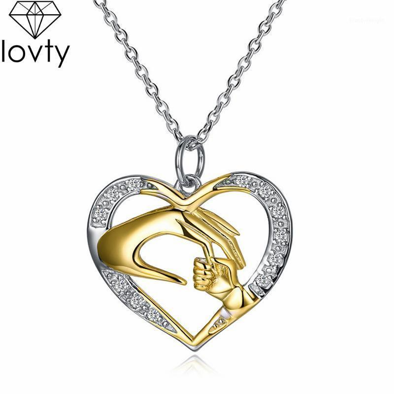 lovty Cubic Zirconia Mom Necklace Baby Heart Pendant Mother Daughter Son Child Family Mother's Day Birthday Gift1