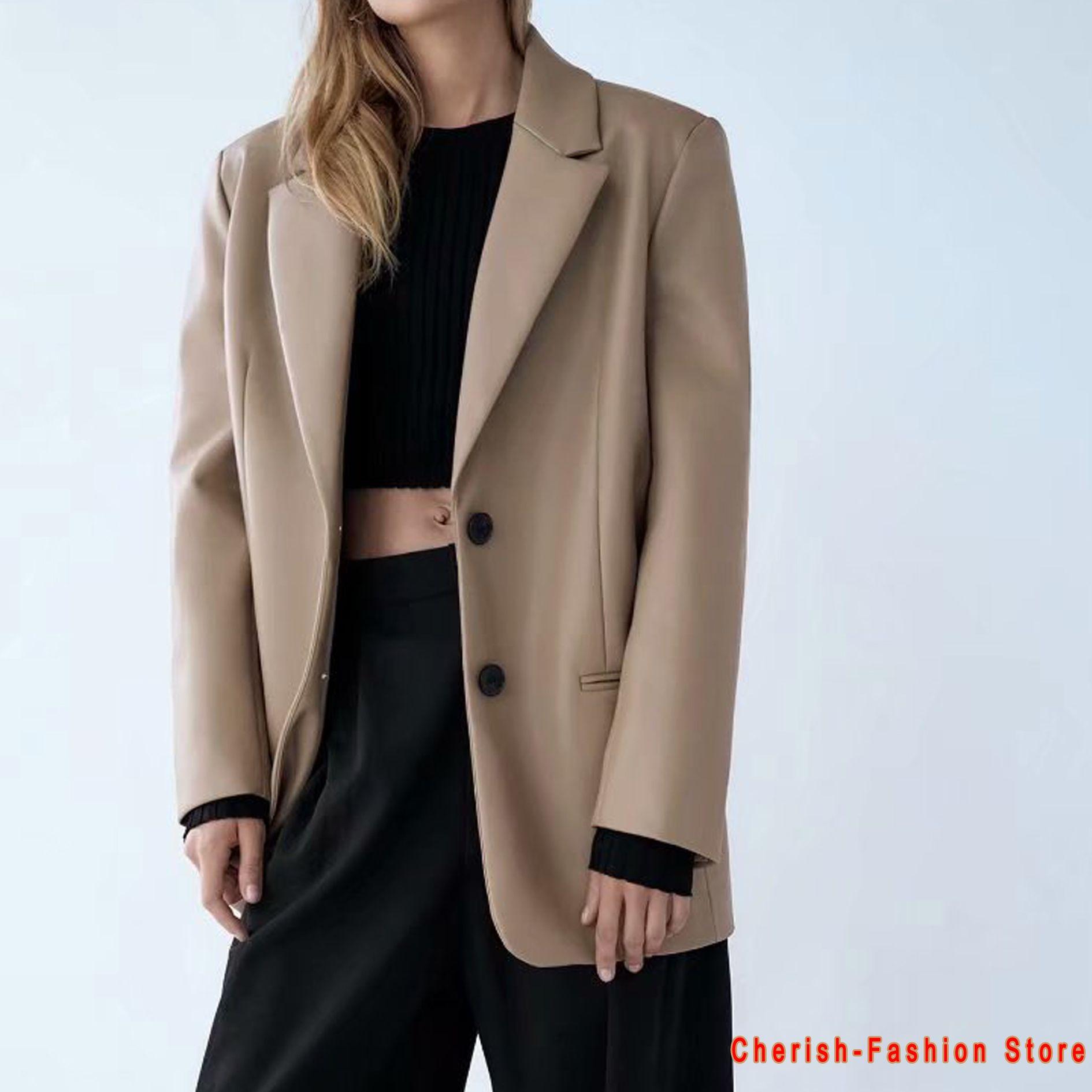 Blazers en similicuir Long Faux Cuir Femme Cuir Veste Coat Kaki Nouveaux Vouettes Femmes Vêtements Vêtements de Vêtements de dessus Manteaux Femme Cuir costume Hot Hot