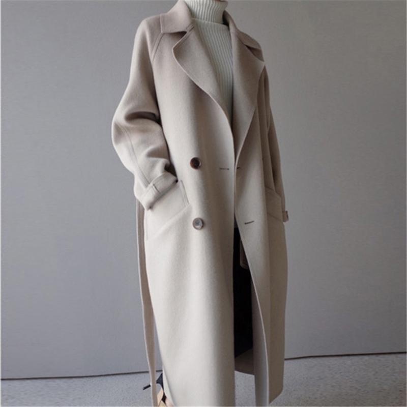 Sonbahar Kış Ince Uzun Ceket Kadın Rahat Kruvaze Yün Ceket Kadın Kore Zarif Ofis Bayan Overisze Dış Giyim 201104