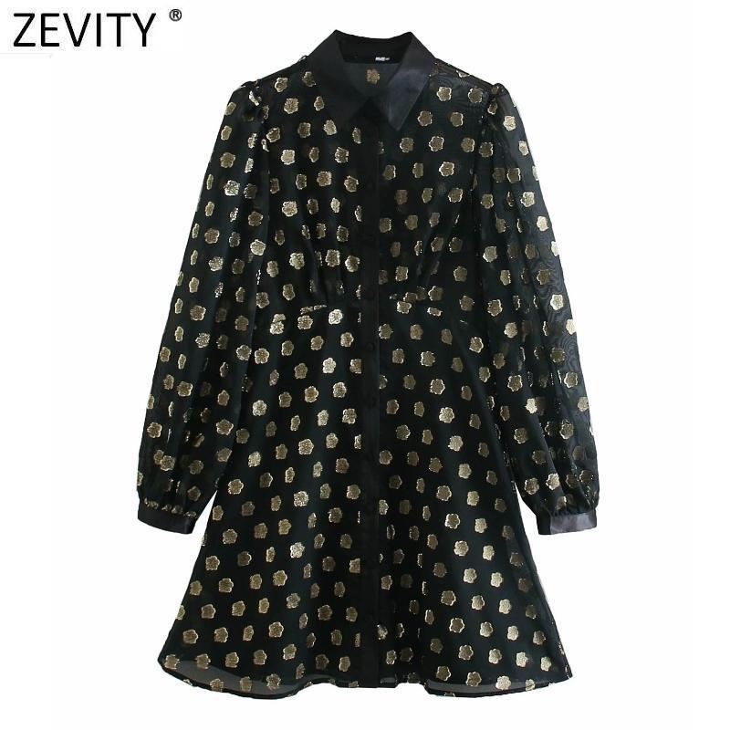 Zevity Nuevas mujeres Vintage Metallic Color Patchwork Camisa Vestido Femme Linterna Manga Casual Slim Vestido Chic Party Ropa DS4884