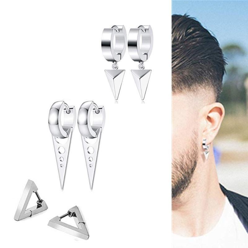 Hip Hop Gothic Ohrringe für Männer Frauen Ohr Piercing Schmuck Ohrringe Set Edelstahl Kpop Dreieck Punk Huggie Hoop
