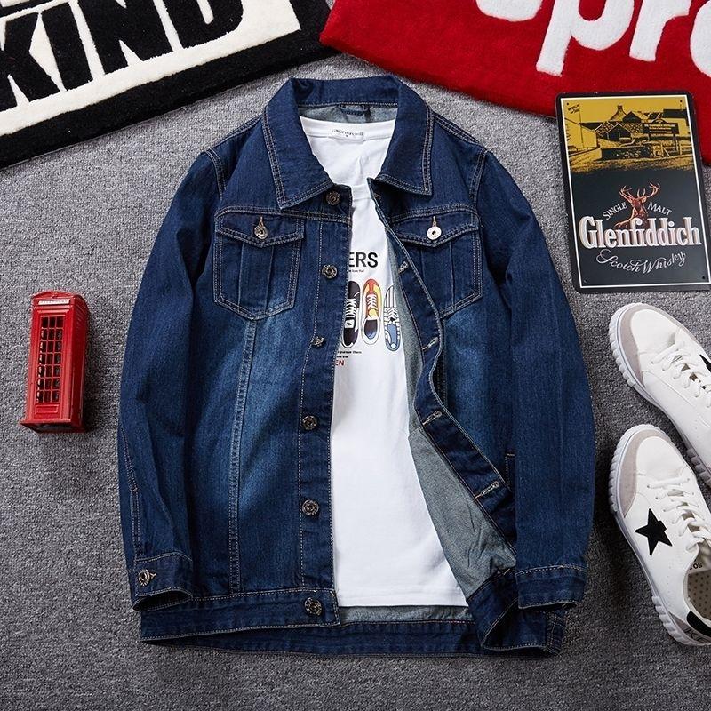 Plus Größe 6XL 7XL 8XL Marke Herren Denim Jacke dunkelblaue Mode Lässig Multi-Pocket Klassische Frühling Herbstjacke Männliche Kleidung 201130