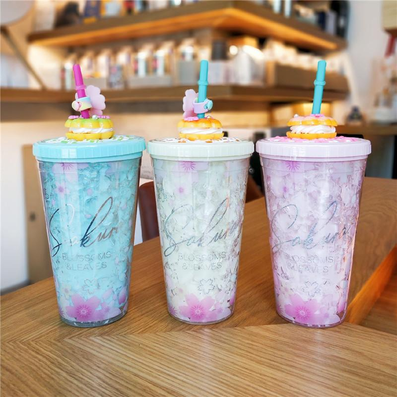 Sakura Ice Cup Plastikbecher mit Deckeln und Strohwasserflasche zum Trinken von Kaffeetasse Saft Milch Straw Cup BPA frei