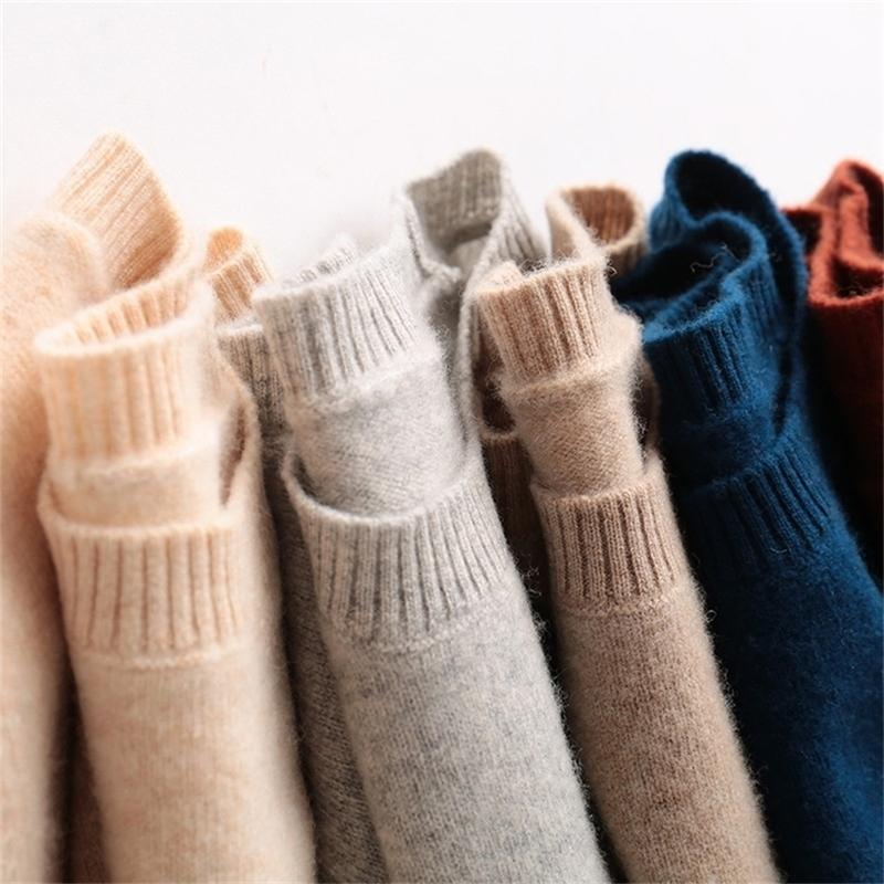 Fall 100% Pure Cashmere Wool Women Pullover Sweater Winter Clothes Woman Long Sleeve O-Neck Clothing Oversized Knitted 201221