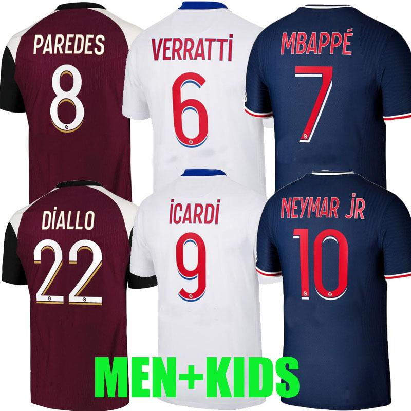 Maillots de foot 20 21 الصفحة الرئيسية كرة القدم الفانيلة 2020 2021 mbappe # 9 iCardi الرجال الاطفال الشقي النهائي kimpembe draxler florenzi danilo كرة القدم القمصان