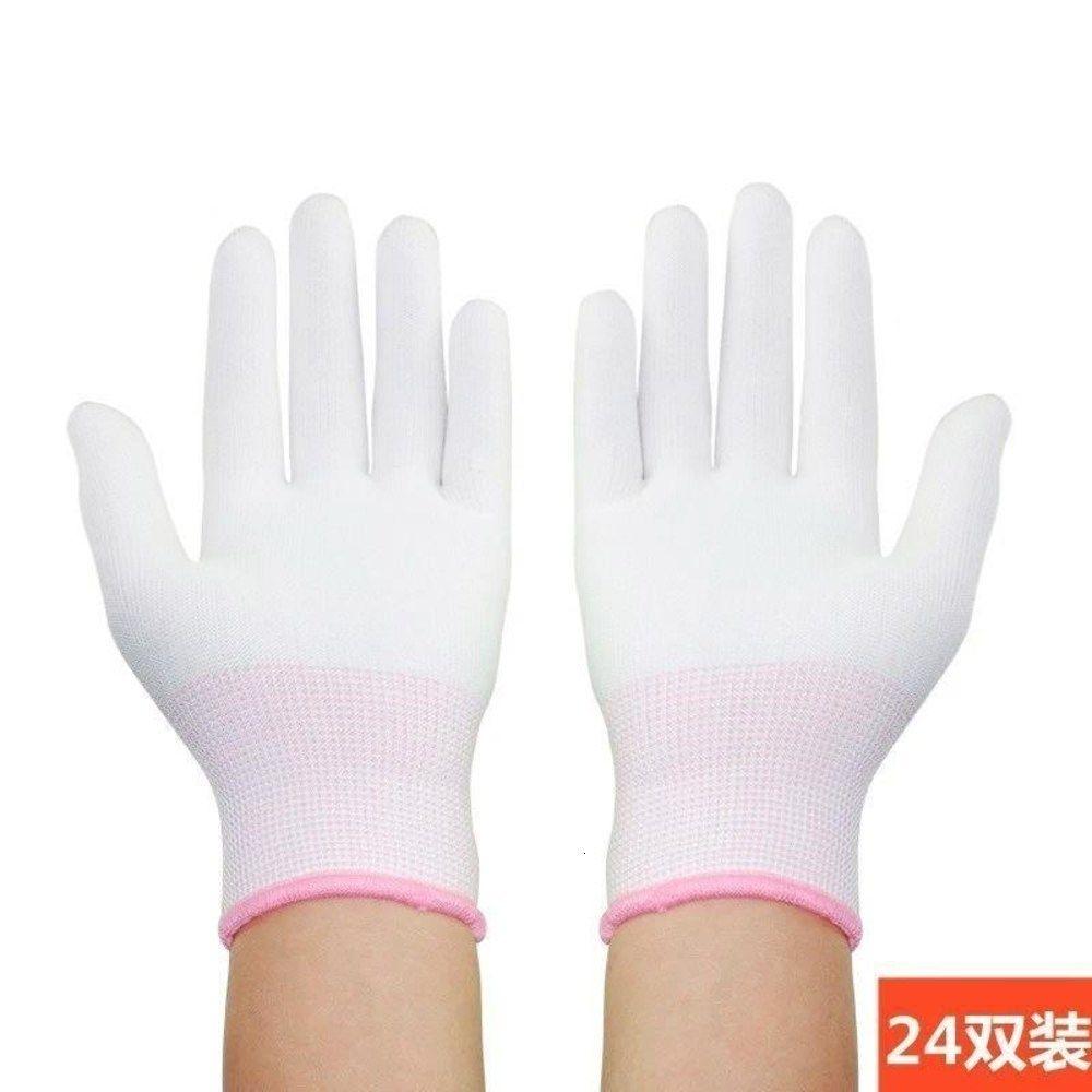 Защита полу перчатки тонкие трудовые резиновые резиновые руки Ультра тонкие износостойкие мягкие тонкие плотные работы нейлоновые марлевые женщины