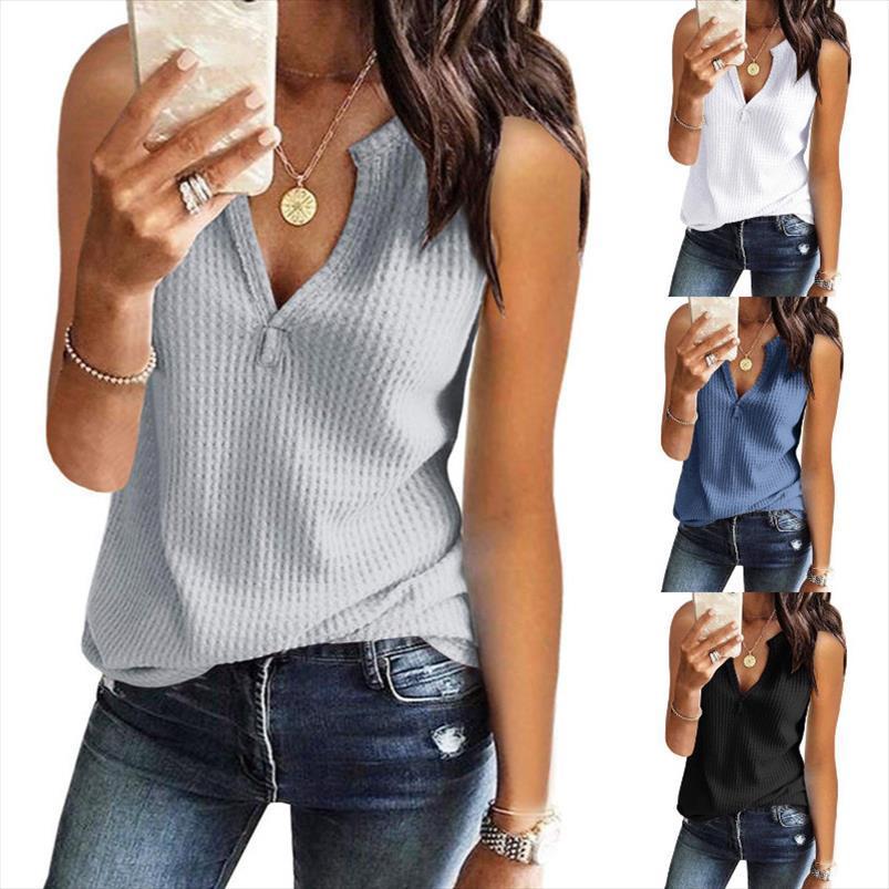 2020 NOUVEAU ÉTÉ ÉTÉ TRANSPAISSEUR SUPÉRICALE TOPS SEXY PECENT EN V COU T-shirt Vest pour femmes Sans manches Élasticité Pull Solid Casual