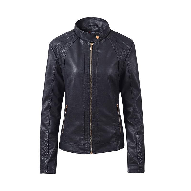 Para mujer primavera abrigos Moda larga de la manga de la cremallera PU de las señoras chaqueta de cuero de la chaqueta de la motocicleta corta femenina chaquetas de abrigo Tops Nueva