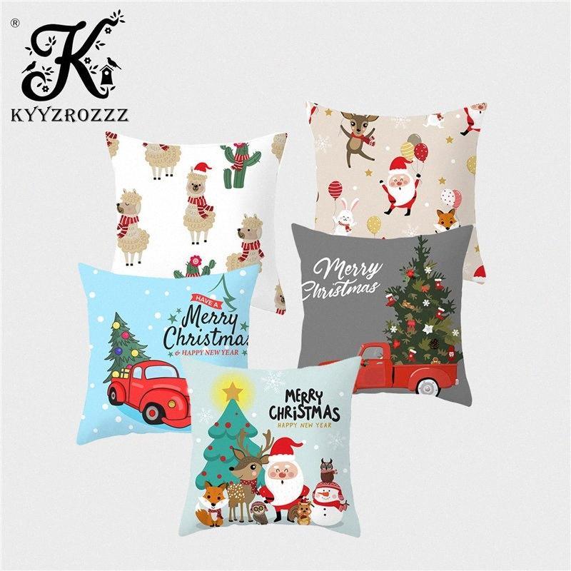 Décoration de Noël Coussin Set Père Noël cerf d'arbre de Noël Flamingo Polyester Impression Accueil Enfants Chambre Pillowcase45CM 1dDG #