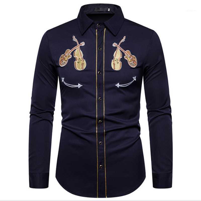 2020 мужская западная ковбойская скрипка вышивка рубашка повседневная кнопка вниз рубашки Slim Fit с длинными рукавами рубашки персоны1