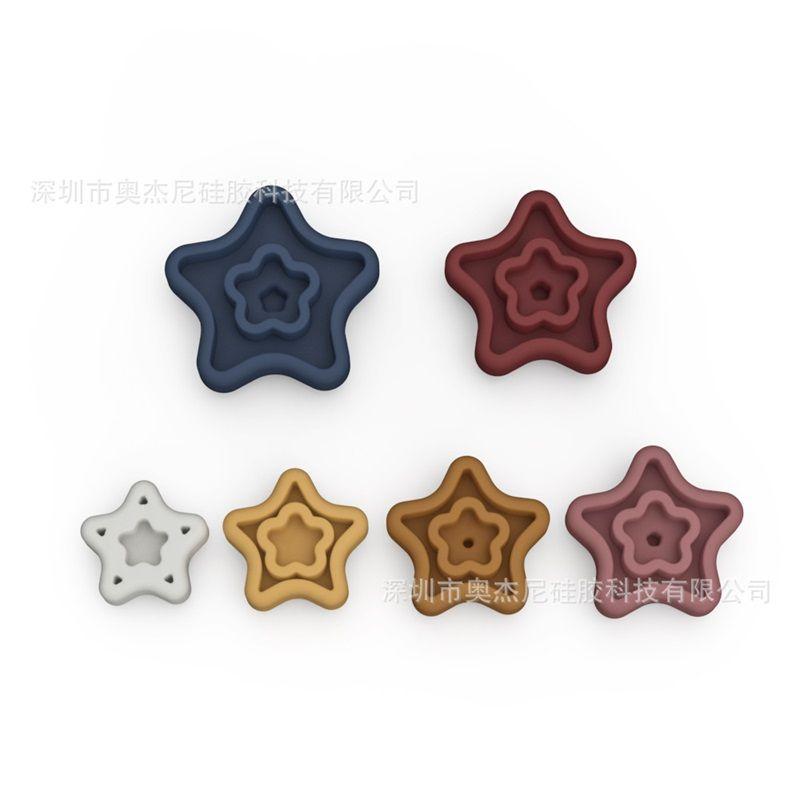 لون نقي الاطفال Souptoys خمسة أشار ستار شكل الطفل الغذاء الصف سيليكون اللبنات اللعب مجموعة من ستة 24 42JN J2