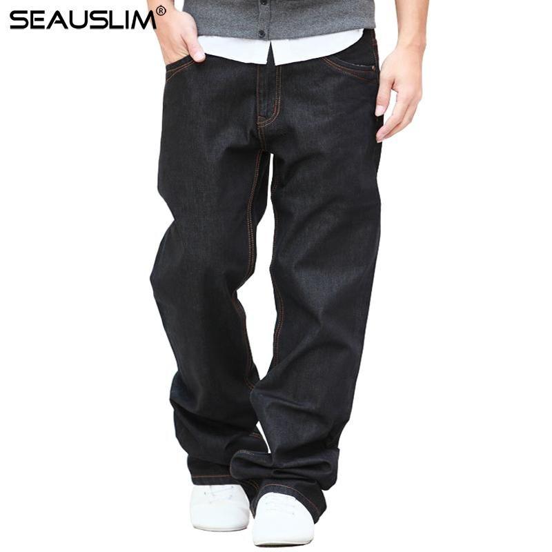 Seauslim Black Baggy Jeans Homens 2020 Moda Homens Straight Jean Pant Grande Tamanho 48 42 34 34 38 Casual Solto Style Calças de Jeans Q-Gzzl-02