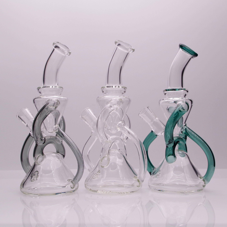 7.6inch Vidro Bong Hookah Clear Recycler Rig Rig Waterpipe Fumando Vidro com 1 quartzo Banger para presente