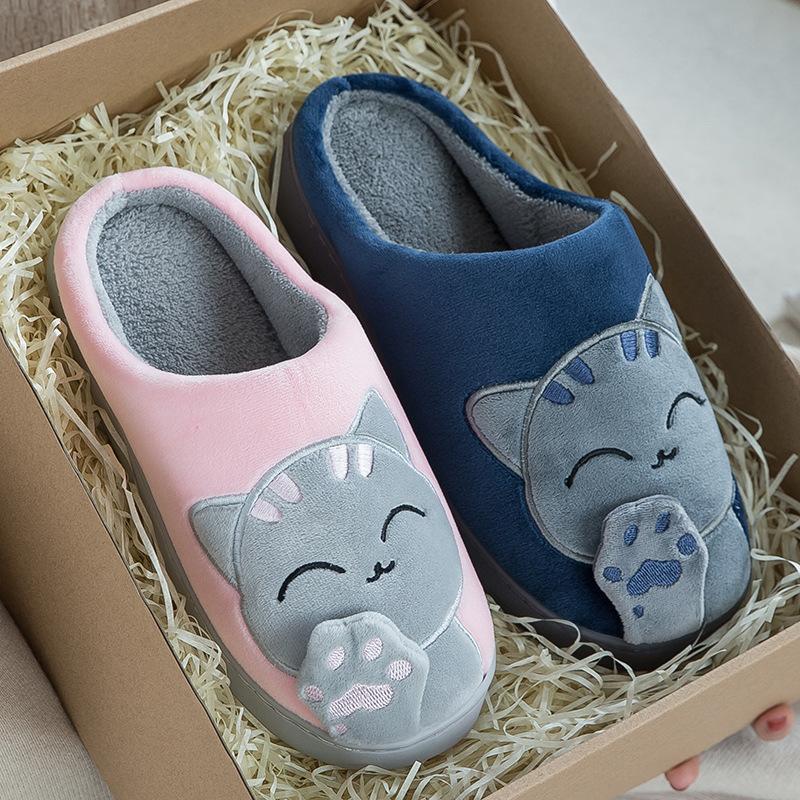 Женщины тапочки 3d вышивка мультфильм кошка зима теплые плюшевые туфли мужчины женские пара дома крытый / открытый дом меховой памяти
