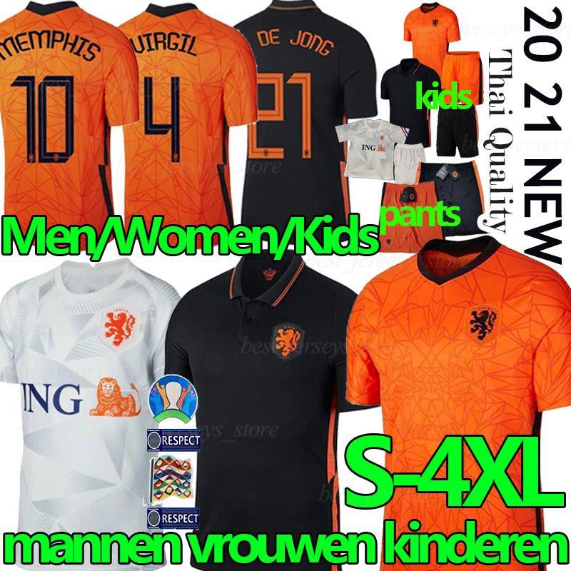 2020 2021 Holanda jerseys del fútbol camiseta de fútbol F. DE JONG Holanda Van Dijk VIRGIL los camisas de Futebol hombres mujeres niños kitsuniforms
