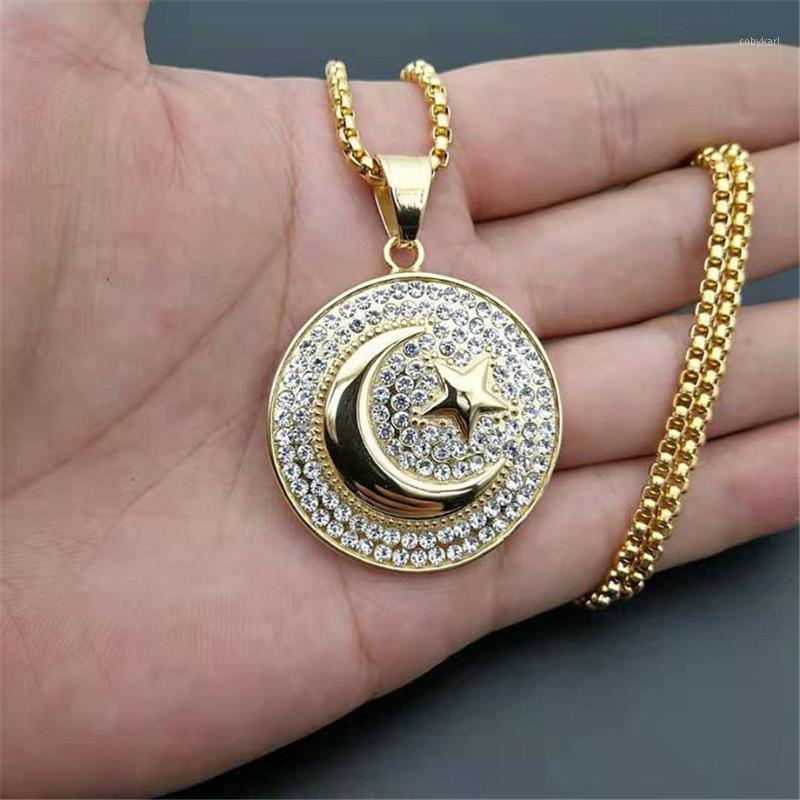 Hip Hop Iced Out Crescent Moon and Star Pendant in acciaio inox Collana musulmana rotonda per le donne uomini islam gioielli Dropshipping1