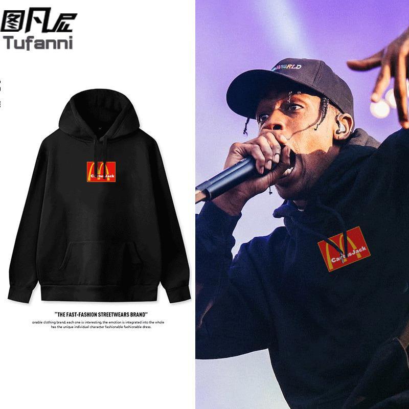 nuevo disco de marca compartida rap hip hop con capucha suéter de terciopelo impreso chaqueta coreana de Travis Scott