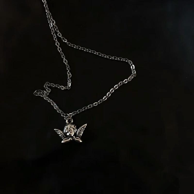 Colar Cupido Moda Vintage aço inoxidável Little Angel Hip Hop fresco da menina Disco curta clavícula colar cadeia de jóias