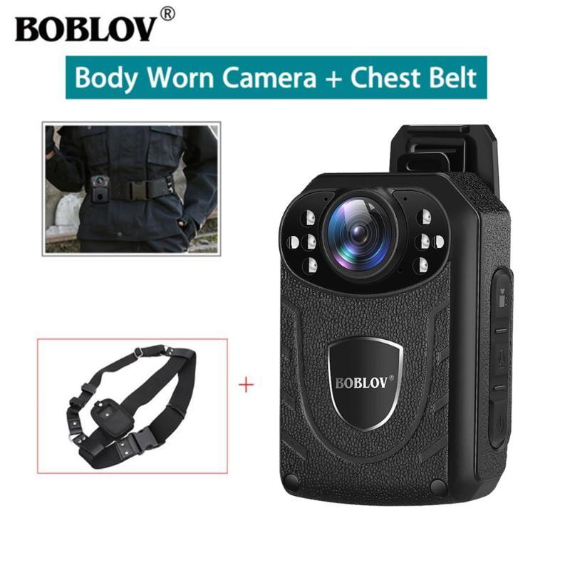 Boblov KJ21 Cuerpo de la cámara llevado con la cámara de la correa del pecho 1296P vídeo DVR Seguridad Cam infrarrojos de visión nocturna usable Mini videocámaras
