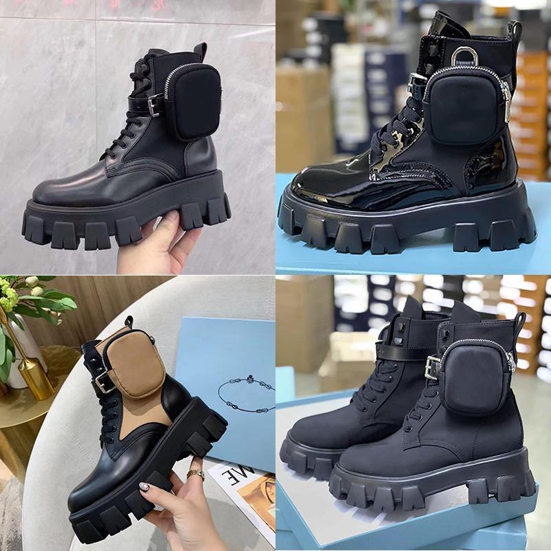 Mulheres luxurys Designers botas Rois Botas Monolith Ankle Martin Botas e Nylon bota militar inspirado bota de combate malas removíveis com Box