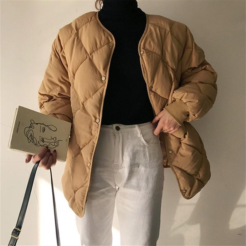HziriP New Office Fashion Casual Winter Windbreaker Coat Women Warm Loose Cotton Coats Long Sleeve Outerwear High Quality 201223