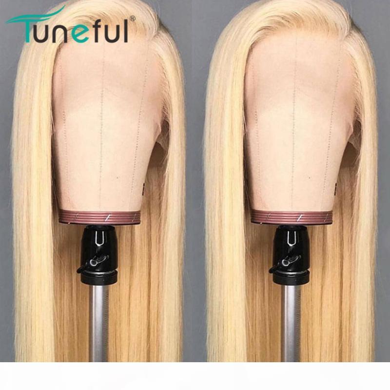 613 Loiro parte dianteira do laço Perucas peruca de cabelo humano reto 13x4 Pré arrancada melódico brasileiro cabelo Remy 150% Loira Lace Wigs 8-26 polegadas