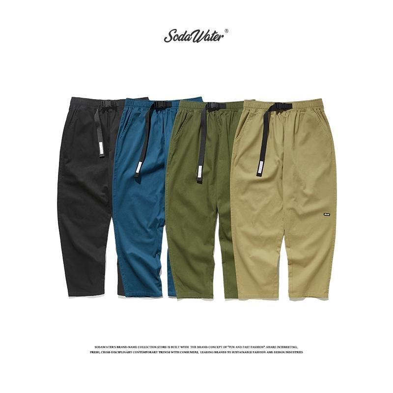 Содители мужчины сплошные цвета грузовые брюки осень Harajuku повседневные тактические брюки япония стиль свободных ремень брюки для мужчин 93365W Y200114