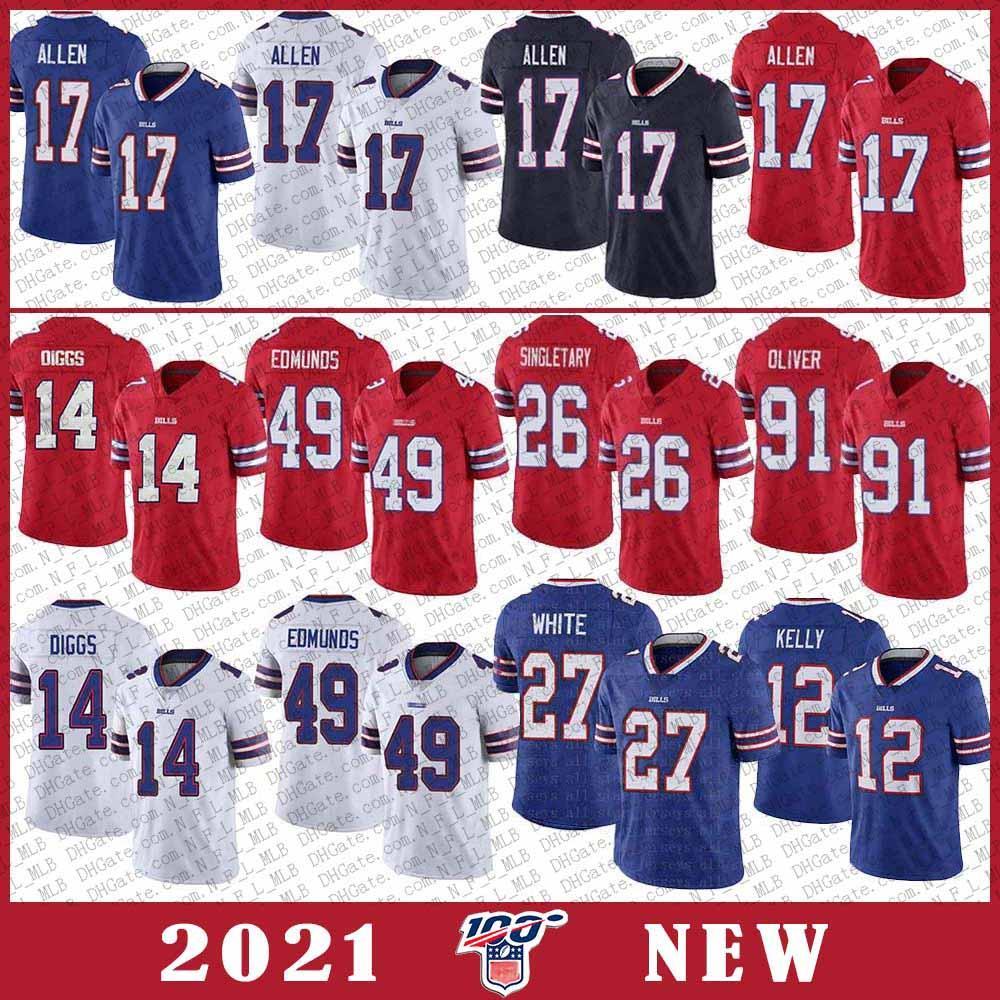 14 Stefon Diggs 11 Cole Beasley BuffaloBill Futbol forması 17 Josh Allen 49 Tremaine Edmunds 12 Kelly 27 Beyaz 91 Oliver 26 Singletary