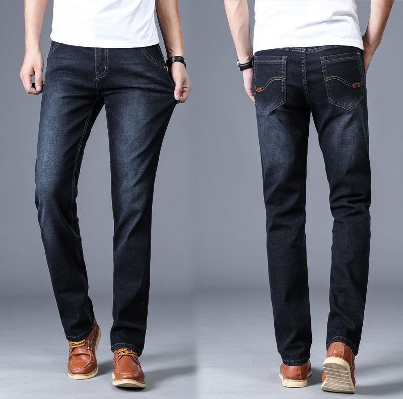 21 pantalones vaqueros de primavera Cilindro recto de los hombres de gran tamaño elástico de la cintura alta, pantalones casuales para hombre, jeans novios