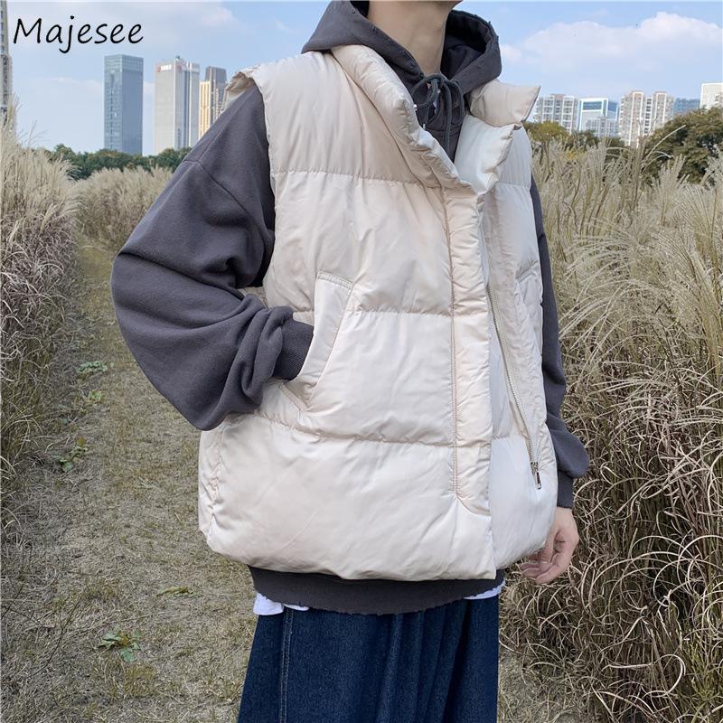 Homens Coletes Sem Mangas Zíper Inverno Chic Sólido Ins Lazer All-Match Jackets Moda Baggy Estudantes Estilo Coreano Roupa Masculina